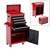 HomCom 2 Piece Rolling Tool Cabinet Storage Set with 5 Drawers and Removable Tool Box - Red and Black