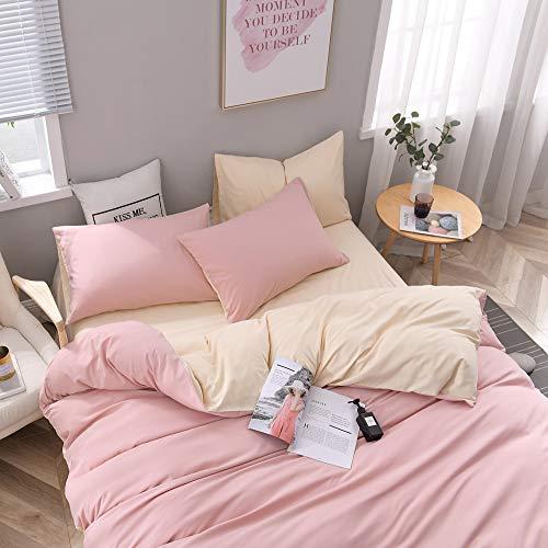 CoutureBridal - Juego de cama (200 x 200 cm, microfibra, reversible), color rosa y beige