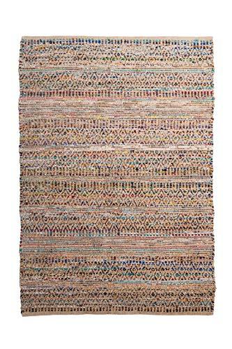 Alfombra de Yute rectangular Multicolor Etni, alfombra natural de fibra de yute y algodón, tejida a mano fundamentos comercio justo - Alfombra de salón, dormitorio, pasillos, exterior (240, 170)