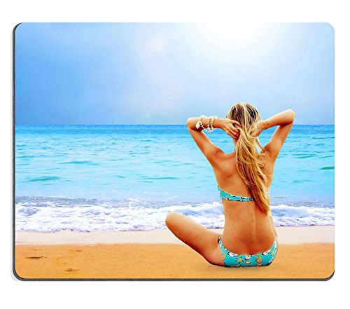 MSD Natural Rubber Gaming Mousepad IMAGE ID: 8254838 Young beautiful women on the sunny tropical beach in bikini