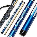 2- Piece Pool Stick + 1x1 Camo Hard Cue Case,with 13mm Glued on Tip, Solid Canadian Maple Billiard Pool Cue Stick 19-21 Oz (CP4+Joint Protector +Cue Case, 19 Ounce)