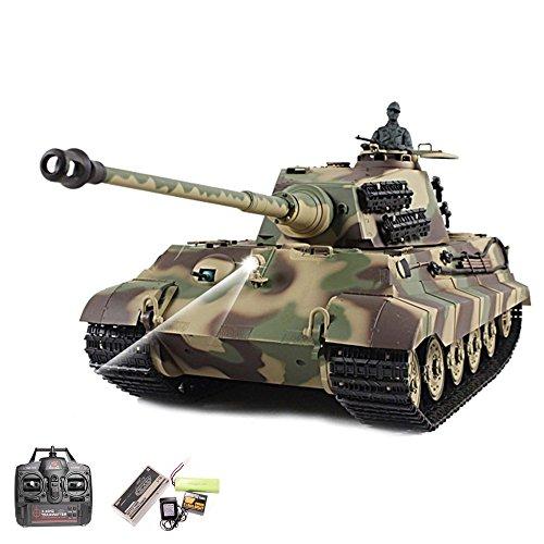 RC Panzer Deutscher Königstiger - Henschelturm 1:16 Heng Long mit Rauch und Sound , Metallgetriebe + 2,4Ghz -Upgraded Version
