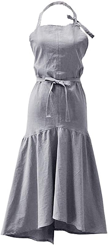 Losofar Unisex Vintage Long Retro Apron Adjustable Fishtail Style Gardening Works Cotton Linen Blend Fashion Neck Aprons Pinafore Dress For Women Girls Grey Adjustable
