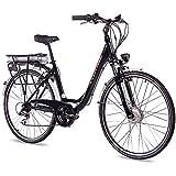 CHRISSON 28 Zoll E-Bike Trekking und City Bike für Damen - E-Lady schwarz mit 7 Gang Acera...