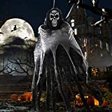 OurWarm 170cm Halloween Deko Garten Gruselig, Halloween Skelett Horror Deko Outdoorn,Großer Sensenmann mit Realistischem Totenkopf,Horror Halloween Deko Garten