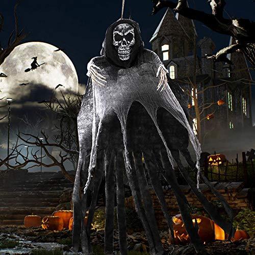 OurWarm - Decoración colgante de fantasma de Halloween de 5.5 pies, gran espina de mugre colgante con calavera realista para Halloween y decoración de patio interior y exterior