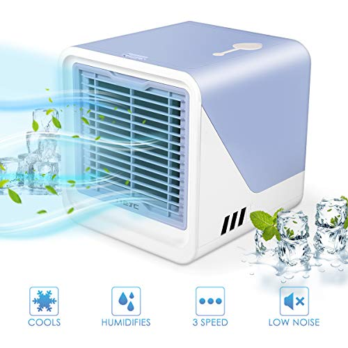 Zomma Air Cooler, Mini Portable Air Conditioner Fan Noiseless Evaporative Air Humidifier, Personal Space Air Conditioner, Mini Cooler,3 Gear Speed, LED Night, Office Cooler Humidifier & Purifier