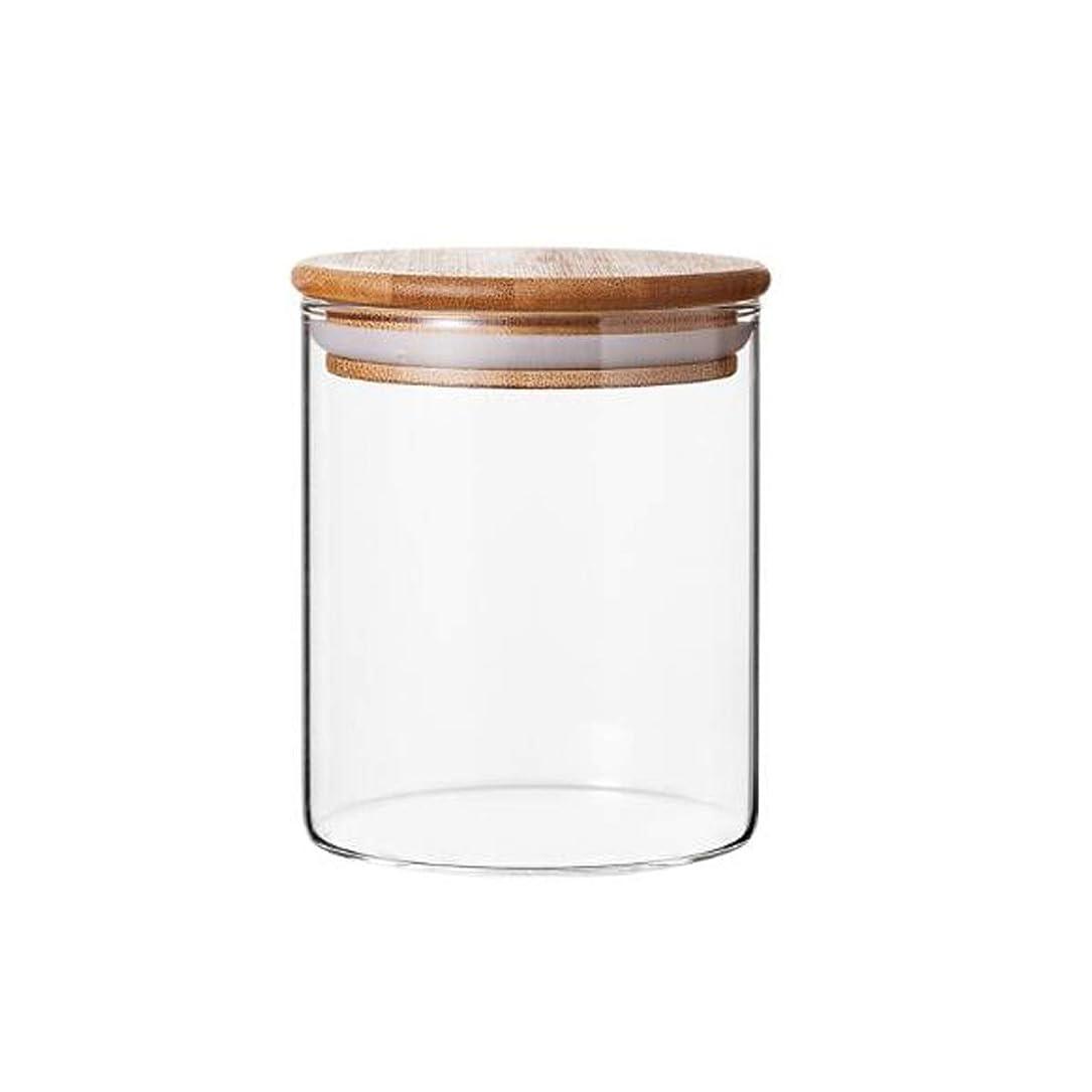含める放射する欲求不満SHENGSHIHUIZHONG 密閉缶、ガラス貯蔵タンク、貯蔵瓶、調味料缶、茶缶、ドライフルーツ缶、ガラス瓶、竹製木材カバー耐熱、1500ml、900ml、550ml、450ml 収納ボックス、 (Capacity : 450ml, Color : Clear)
