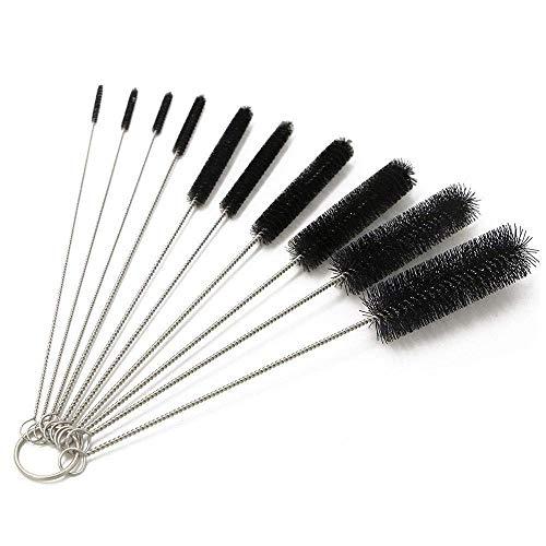 10 cepillos de boquilla de tubo de nailon multiusos para limpieza de tuberías para botellas de cuello estrecho con gancho (negro)