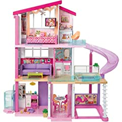 ​Measuring an impressive 3 feet tall and 4 feet wide and featuring 3 stories, 8 rooms, all-angle play, a working elevator and pool with slide, the Barbie Dreamhouse encourages young imaginations to move into this dollhouse and set up a dream home! ​D...