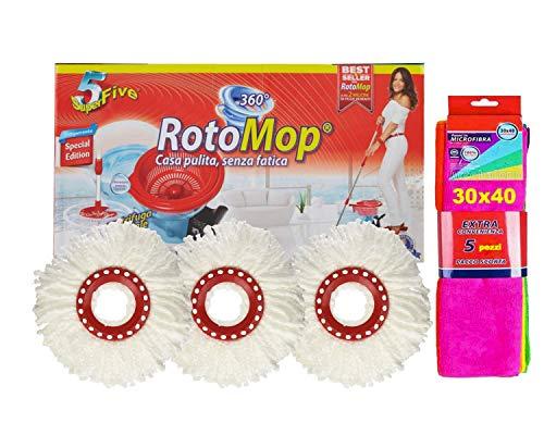 Rotomop Set Secchio con Pedale + 3 RICAMBI + 5 Panni Microfibra
