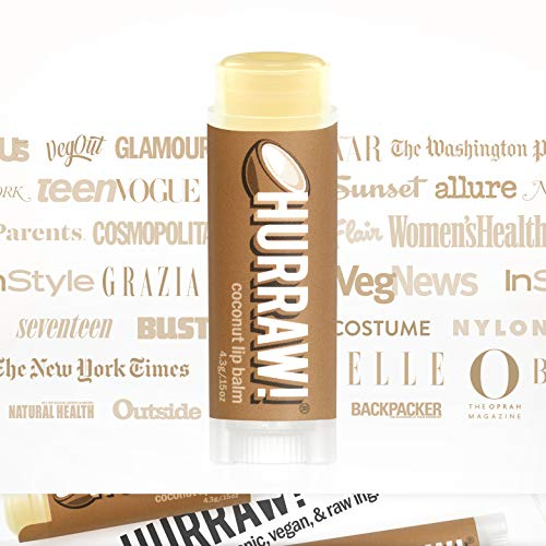 Hurraw! Coconut Lip Balm, 2 Pack: Organic, Certified Vegan, Cruelty and Gluten Free. Non-GMO, 100% Natural Ingredients. Bee, Shea, Soy and Palm Free. Made in USA