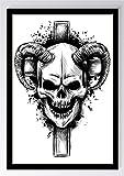 Zeichnung Schädel Hörner Kunstdruck Poster -ungerahmt-