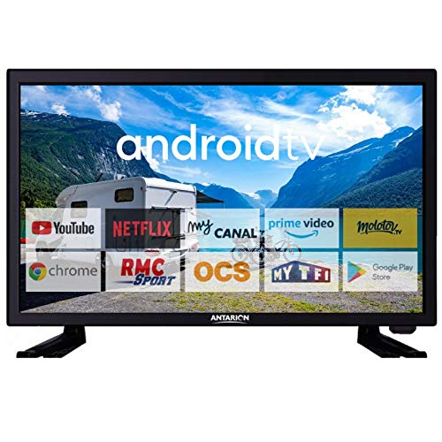 Antonion - TV 19 pollici (48 cm) Bluetooth Connect Netflix RMC Sport campeggio auto barca 12/24/220 V Smart TV LED