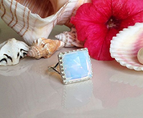Opalite Ring - Square Crown Ring - Gemstone Ring - Delicate Ring - Pacific Opal Ring - Rainbow Ring - Moonstone Ring - Promise Ring -  Holy Land Jewelry