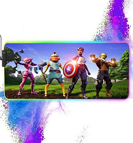 RGB Mouse Pad Extended for Fortnite-Avengers Brite Bomber-12 Lighting Modes Mousepads-Anti-Slip Rubber Base & Stitched Edges-Waterproof Keyboard and Mice Combo Mat for Laptop,Computer 31.5X11.8