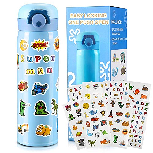 Gift for Boys, Decorate Your Own Water Bottle with Fun Stickers Crafts Kit and DIY Arts Set Blue Vacuum Insulated Travel Mug Cool and Creative Birthday Gift for Boy