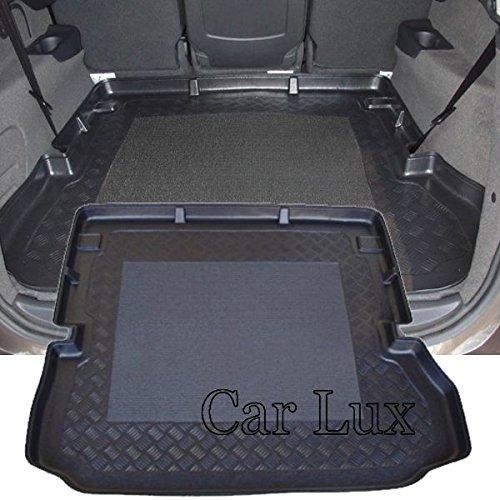 Car Lux AR00404 - Alfombra Bandeja Cubeta Protector cubre maletero a medida para Grand Scenic III 7 plazas desde 2009- con antideslizante