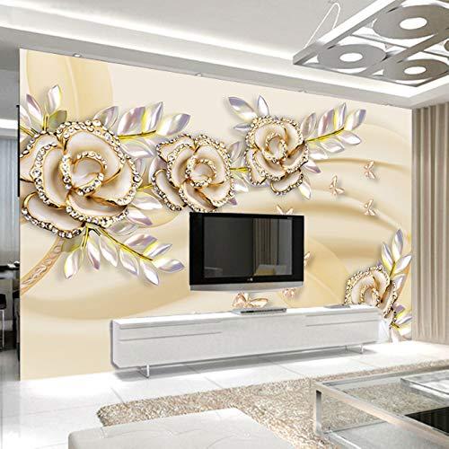 Tamaño Personalizable Mural Wallpaper Para Paredes De Dormitorios 3D Europeo Flor De...
