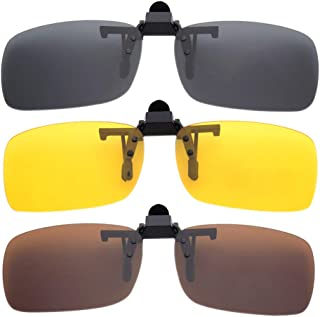 BOZEVON Clip on Sunglasses - Flip-Up Polarised Sunglasses Myopia Night Vision Glasses Fit over Prescription Eyeglasses for Driving and Outdoors