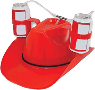 Ranoff Bar Party Drink Cap Beverage Helmet Drink Beer Drinking Hat Lazy with Straw Cap Party Release Your Hands (Red)