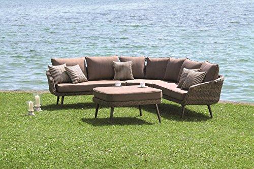 Forma Hochwertige Luxus Poly Rattan Lounge Glamour mit gedrehtem Kunststoffgeflecht in Bananenblatt Optik und wasserabweisenden Kissen