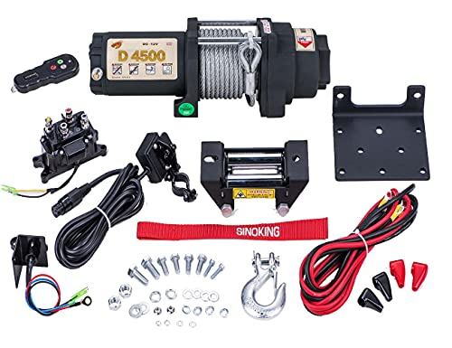 """SINOKING 4500lb 12V UTV/ATV Winch with 1/4""""x 32ft Rope, Wired and Wireless Control"""