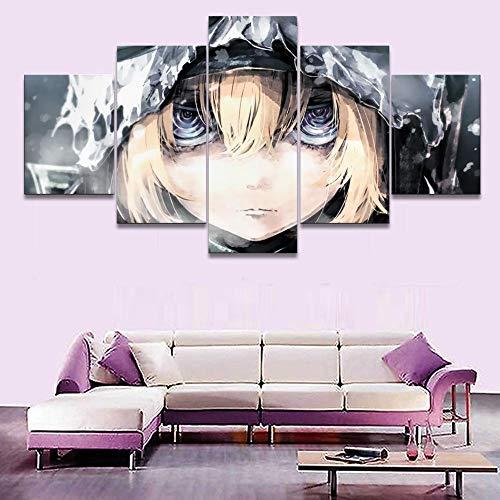YBYBYB 5 peças de pintura em tela moderna sem moldura arte para quarto de casa, impressão em tela, pôster de arte de parede, 5 peças anime Youjo Senki Tanya Degurechaff decoração de casa obrazy plakat DDZZYY