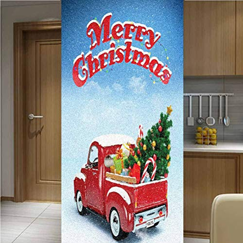 "Christmas Privacy Window Film Non-Adhesive Glass Film,One Piece 30x78"",Pickup Truck Filed with Ornament Cold December Weather Snowflakes Merry Christmas Glass Window Decors for Anti UV/Privacy"