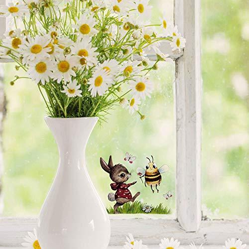 ilka parey wandtattoo-welt Mini-Fensterbilder Fensterbild Ostern Fuchs REH Hase Pusteblume wiederverwendbar Fensterdeko bf24mini- ausgewählte Farbe: *bunt* ausgewählte Größe: *6. Hase mit Hummel *