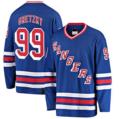 LIMONG Herren Eishockey-Trikot Wayne New York #99 Rangers Gretzky Premier Breakaway Retired Player Jersey atmungsaktiv ärmellos Weste Uniform - Blau