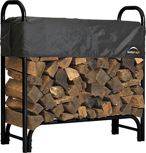 Read About ShelterLogic 4' Adjustable Heavy Duty Outdoor Firewood Rack with Steel Frame Construction...
