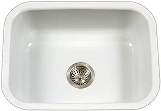 Houzer PCS-2500 WH Porcela Series Porcelain Enamel Steel Undermount Single Bowl Kitchen Sink, White