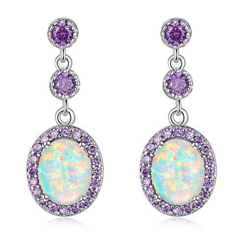 CiNily White Fire Opal Amethyst Dangle Drop Earrings 18K White Gold Plated Opal Jewelry for Women Gemstone Stud Earrings 7/8'