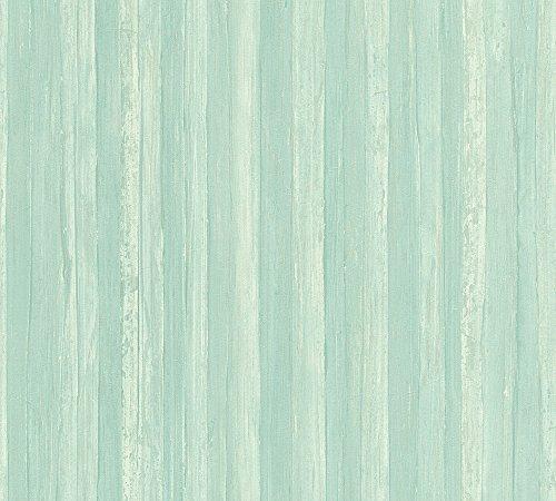 A.S. Création Vliestapete Borneo Tapete gestreift 10,05 m x 0,53 m blau grün Made in Germany 327144 32714-4