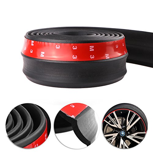 Preisvergleich Produktbild Auto schwarz Front Bumper,  Konesky 2.5m Gummi Protector Lip Splitter Spoiler Kinn Lip Rock Protector,  60mm Breite
