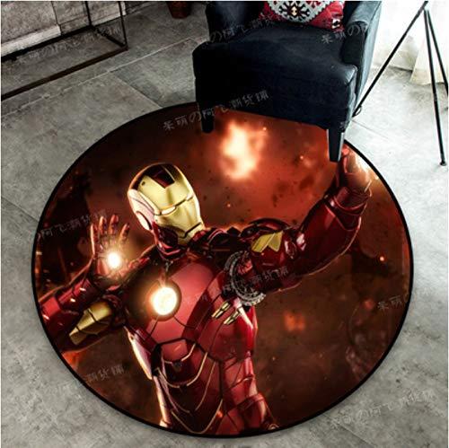 zzqiao Teppich Teppich Kristall Samt Cartoon Anime Avengers Marvel Heroes Iron Man Spiderman Schlafzimmer Computer Drehstuhl Korb Runde Teppich Durchmesser Größe 80 cm