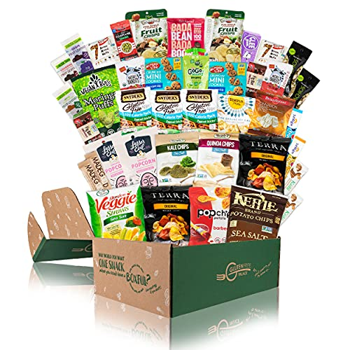 Deluxe Snacks Care Package - GLUTEN FREE, DAIRY FREE, Kosher Cookies, Bars, Chips, Puffs, Fruit & Nuts. [40 Count] INDEPENDENCE DAY GIFT BASKET | Healthy Snack Box | College Care Package
