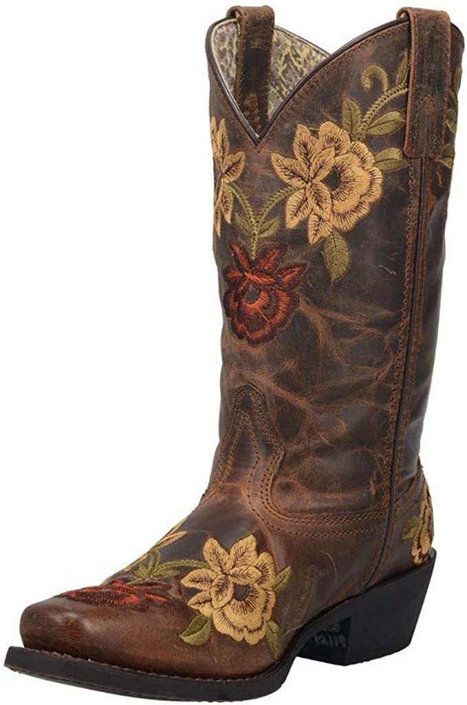 Laredo Womens Tan Kendra 11in Floral Cowboy Boots Leather