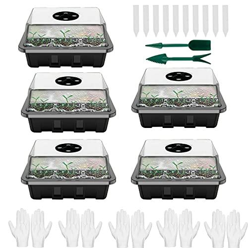 Moocuca 5 Stück Zimmergewächshaus Anzuchtkasten, Mini Gewächshaus Anzuchtset mit Deckel und Belüftung, mit Gartengeräte Klein, 12 Löchern und 10 Pflanzenetikett, Ideal für Sämling Pflanze Aufzucht