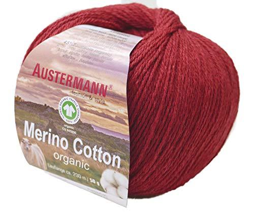 austermann Merino Cotton Organic, rot 03, Biowolle zum Stricken und Häkeln, Wolle GOTS Zertifiziert