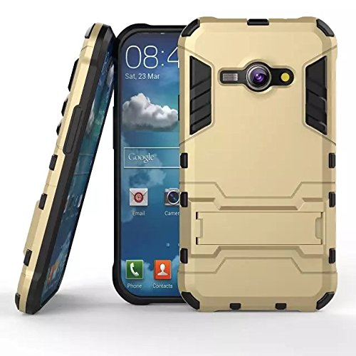 zl one Cassa del Telefono per Samsung Galaxy J1 Ace J110 Custodia Slim Layer Tough Armor Copertura Back Case Cover PC+TPU-Gold