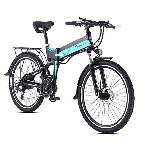 LXLTLB Bicicleta Plegable Folding Bike 26in Bicicleta Eléctrica Plegable de Montaña 48V 10.4HA Batería Litio Gran Capacidad 21 Velocidades 400W Adulto E-Bike,B