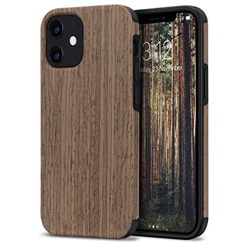 TENDLIN Kompatibel mit iPhone 12 Hülle/iPhone 12 Pro Hülle Holz & TPU Silikon Hybrid Handyhülle (Schwarz Palisander)