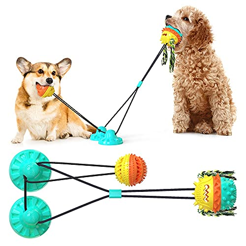 HallwayeeDog Double Suction Cups Chew Toys Indoor Powerful Tether Ball with Elastic Rope Toy Dog Food Dispensing Toys Molar Bite Squeaky Toys Water Floating Ball Toys(Lake Blue)