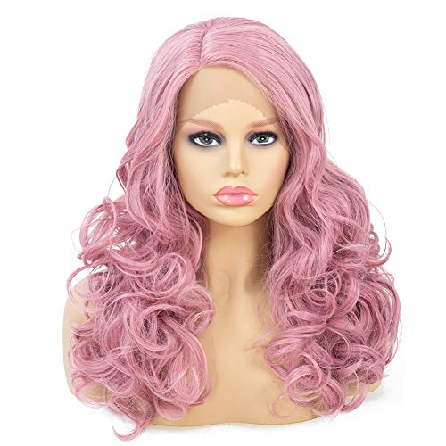 BLSWANER Pastel Pink Long Wavy Lace Front Wigs Body Wave L Part Side Parting Curly Synthetic Hair Wig For Women