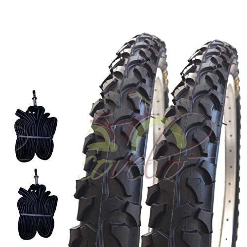 Ecovelò EBA26MBU 2 COPERTONI + 2 CAMERE d'Aria da Mountain Bike Bici Bicicletta Nero 26 X 1.95 (54-559) MTB