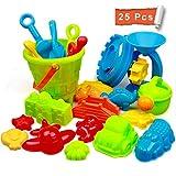StillCool Strand Sandspielzeug Set mit Strandtasche Mesh,25 Stück Strandspielzeug für Familie Urlaub mit Spaten Schaufel, LKW, sandkasten Eimer Tier Formen