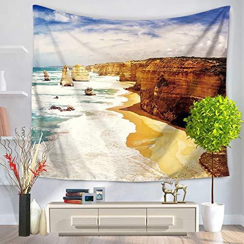 WERT Hermosa Vista al mar Olas del mar Tiburón Tapiz Colgante de Pared Toalla de Playa Sol Decorar Sala de Estar Oficina Almohadilla para Dormir A6 150x130cm