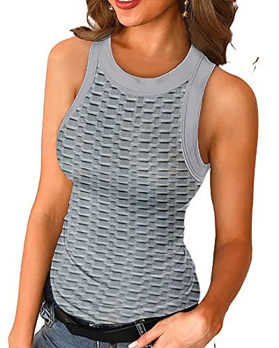 Camiseta Sin Mangas Mujer Sexy Elegante Moda Color Sólido Apretado Gofre Cuello Redondo Sin Mangas Top Verano Playa Vacaciones Casual Fiesta Mujer Tops E-Grey 5XL